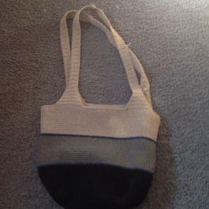 Three color woven handbag