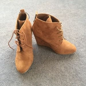 Brown Lace Up Wedge Ankle Boots NWOT