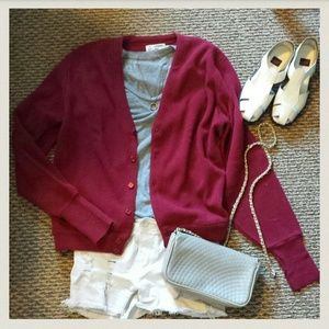 london fog Sweaters - Burgundy red oversized boyfriend cardigan m/l