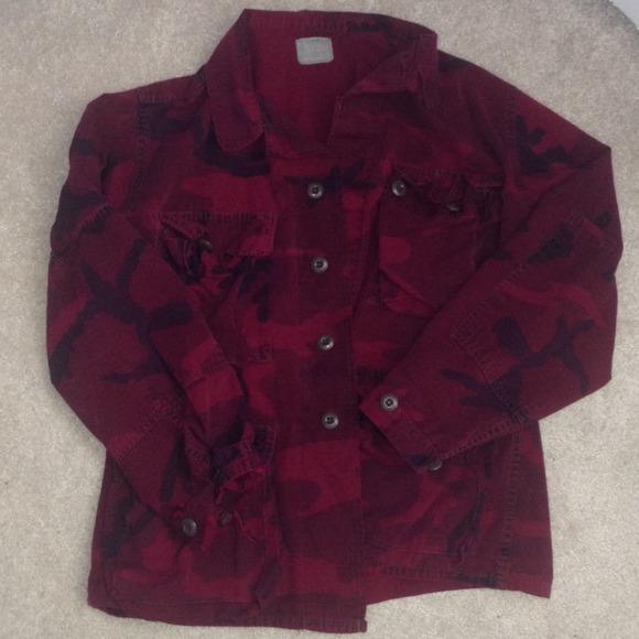 f2d76ecb66e5f Jackets & Coats | Burgundy Camo Jacket | Poshmark
