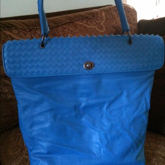 84% off Bottega Veneta Handbags - Bottega Veneta bright blue soft ...