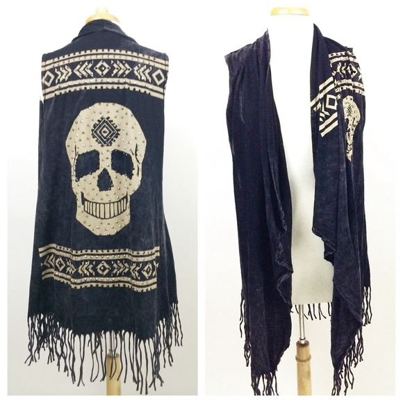 Vocal Tops - ❗️SALE❗️VOCAL: Black Stone Wash Skull Vest