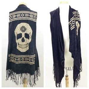 ❗️SALE❗️VOCAL: Black Stone Wash Skull Vest