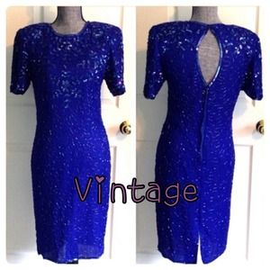 Vintage Blue Beaded Silk Dress Small 80s REDUCED!