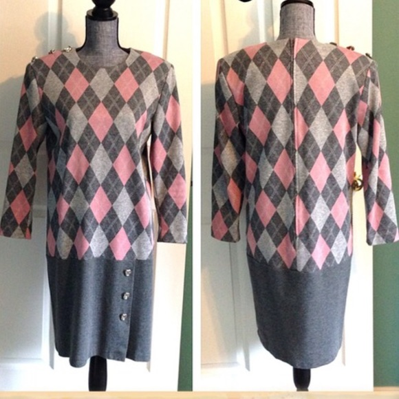 stuart alan Dresses - Vintage Mod Argyle Dress Drop Waist Pink Gray 10