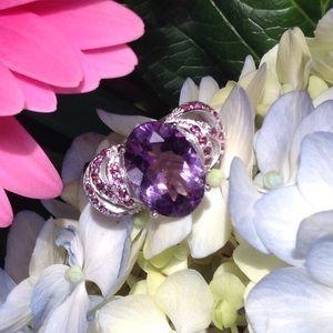 Genuine Amethyst & Garnet Ring