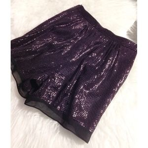 DVF Plum Sandra Sequin Shorts