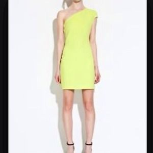 Zara lime green one shoulder dress! Brand new