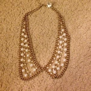 Gold Pearl Collar Necklace
