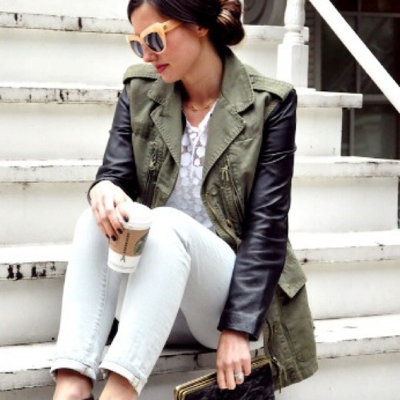 Zara Jackets & Blazers - Zara leather sleeve jacket!