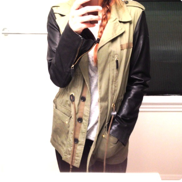 Zara Jackets & Coats - Zara leather sleeve jacket!