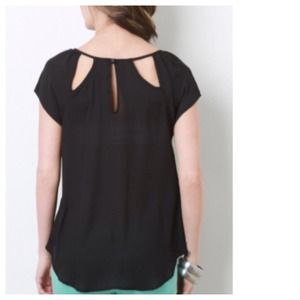 Tops - Semi-Sheer Black Top + Cut-Out Back