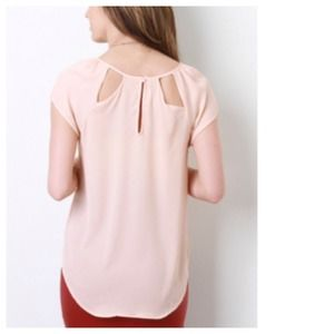 Tops - Semi-Sheer Peach Nude Top + Cut-Out Back