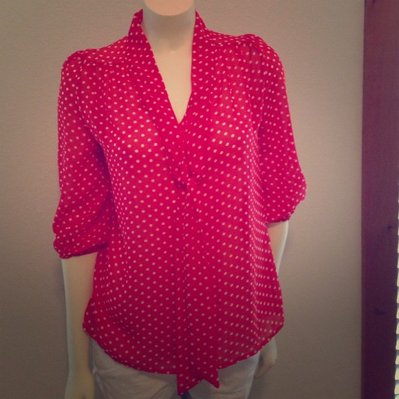 63b3a8907ad8f Cute Red   White Polka Dot Shirt