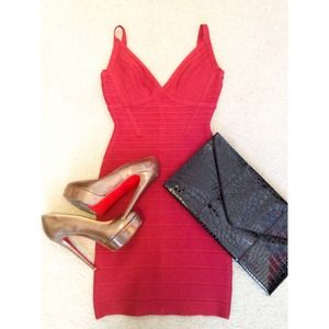 Herve Leger red Scarlett bandage dress XS