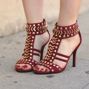 Charlotte Russe Shoes - Studded gold sandals.