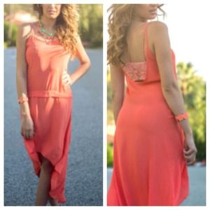 Dresses & Skirts - Low Back Coral Chiffon Drop Waisted Hi-Lo Dress