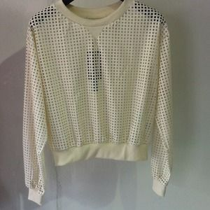 Sweaters - Pleather Perforated Sweater
