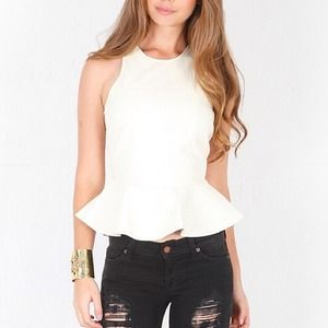 JAYE.E. ivory faux leather peplum top.