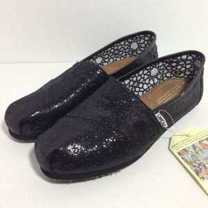 ❌HOLD❌Black Glitter TOMS - NWOB