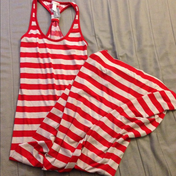 New! Red and white nautical striped maxi dress M from Rawan&-39-s ...