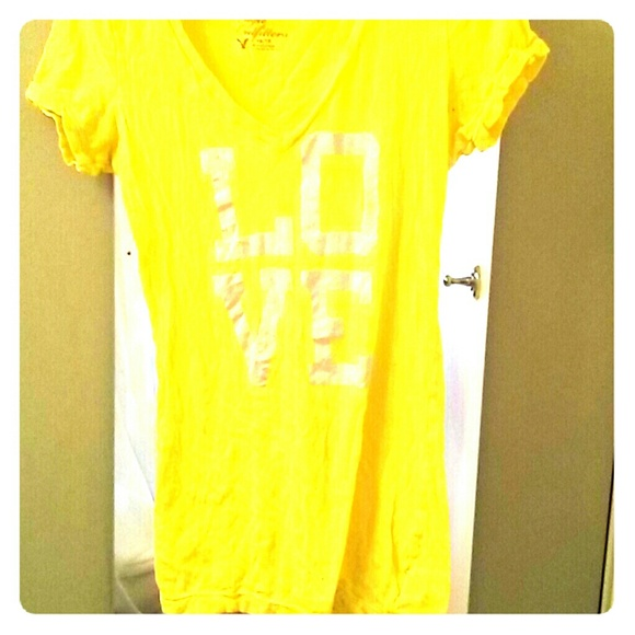 149d1933 American Eagle Outfitters Tops | American Eagle Yellow Vneck Tshirt ...