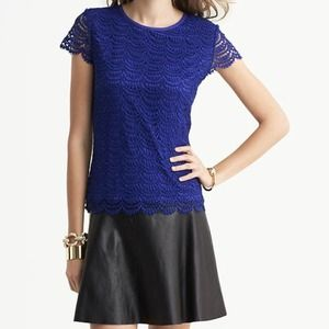 Banana Republic Tops - banana republic // scalloped lace top • royal blue