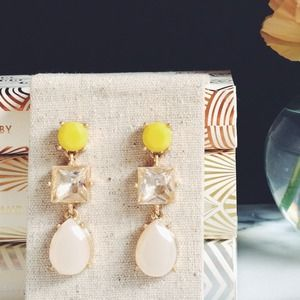 Stephanie Yellow, Crystal, and Opal Drop Earrings