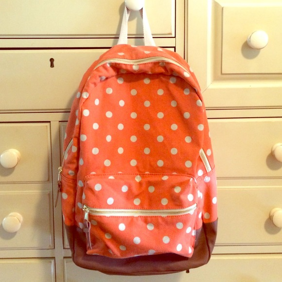 50c63c465 Madden Girl Accessories - Madden Girl Orange Polka Dot Backpack