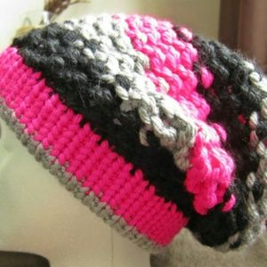 Bright stripes Hand Knit Slouchy Beanie
