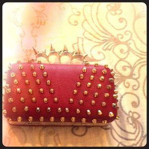 Clutches & Wallets - Red spiked brass nuckle style studded clutch