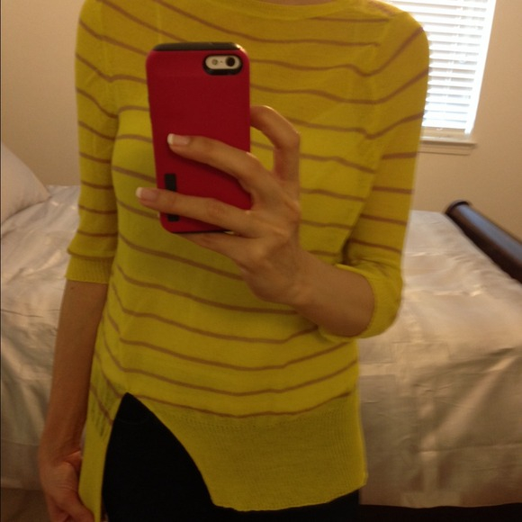 88% off A.L.C. Sweaters - A.L.C yellow striped wool sweater ...