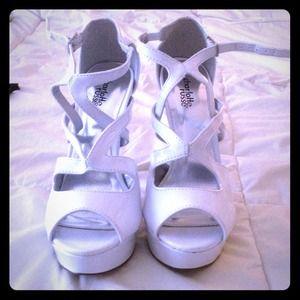 White, strappy, Charlotte Russe platform