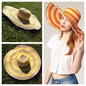 Magid Hats Accessories - Oversized Yellow Stripe Floppy Straw Sun Hat