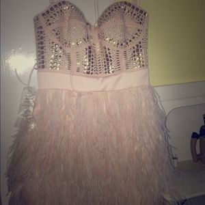 Bebe feather dress great for prom!!
