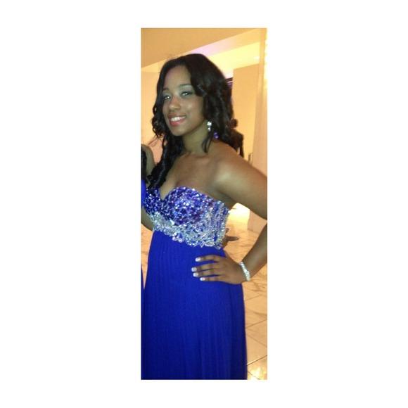 57% off Dresses & Skirts - Royal blue diamond studded prom dress ...