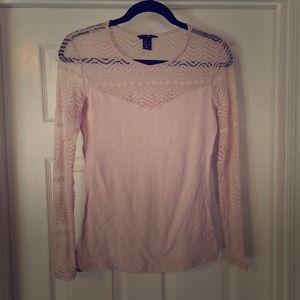 H&M Blush Pink Lace Sleeve Tee