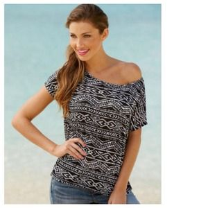 B&W Tribal Print Oversized Short Sleeve Top