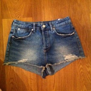 TopShop High-Waisted Denim Shorts(ripped)