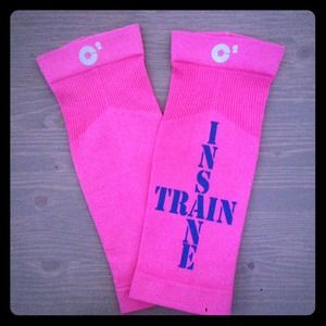 Pink Compression Calf Sleeves. Train Insane
