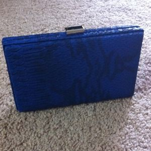 Royal blue snake skin clutch