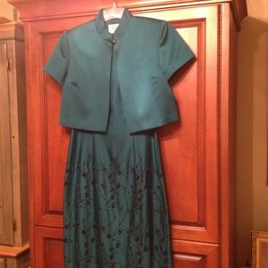 Dresses & Skirts - Price Reduced- jade gown with black embroidery