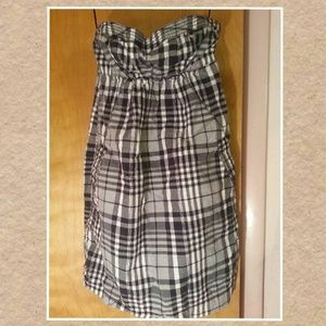 American Eagle NWOT strapless plaid dress Size 0