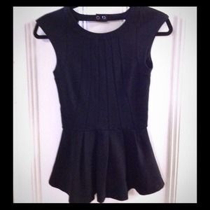 Black peplum with back cut out