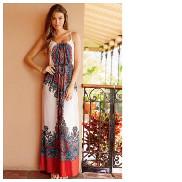 SOLD OUT Boho Coral Blue White Paisley Maxi Dress XS S M L XL ...