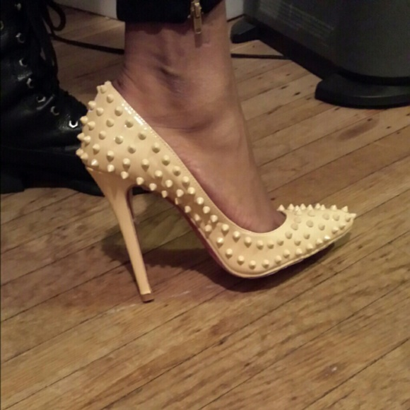 40% off Red Bottoms Shoes - Nude Spiked Pigalle Style Red Bottom ...