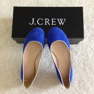 J.crew suede flats in royal blue
