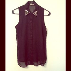 Studded Sheer Sleeveless blouse