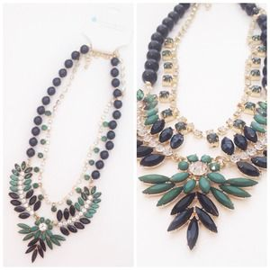 Emerald Green + Black Statement Necklace
