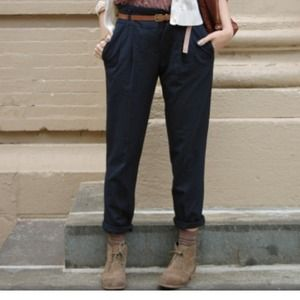 Zara Pants - Zara pleated navy pants w/belt
